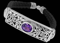 Amethyst, Leather and Sterling Silver Bracelets