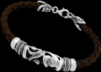 Brown Leather and Sterling Silver Bracelets - Mens Bracelets